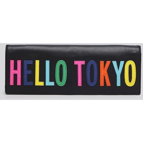 kate spade new york Clutch - Hello Tokyo Zena ($224) ❤ liked on Polyvore featuring bags, handbags, clutches, kate spade, black, black clutches, colorful handbags, black purse, multi colored handbags and travel handbags