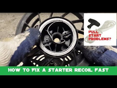 How To Fix A Pull Starter Recoil Spring And Replace A Stuck Or Limp Pull Cord Youtube Fix It Pulls Cord