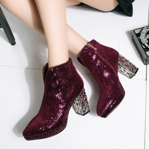 New-Women-Pointy-Toe-Bling-Bling-Booties-Ankle-Boots-Rhinestone-Leather-Shoes