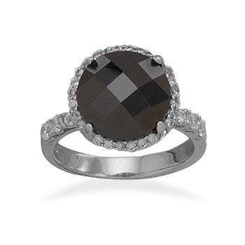 Rhodium Plated Black Checkerboard Cut CZ Ring