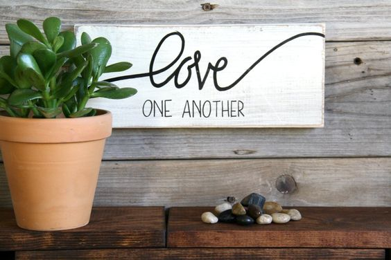 Love One Another, Home Decor, Hand lettered, Hand Painted, Wood Sign, Rustic Wall Hanging by HerHazelEyesStudio on Etsy