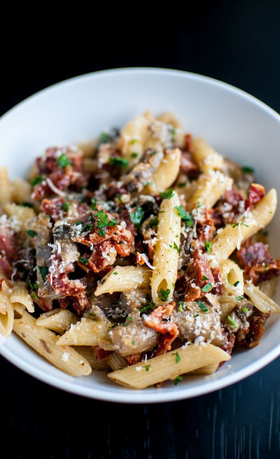Chorizo,  sun-dried tomatoes, portobello mushrooms, and plenty of garlic make this pasta dish a winner.