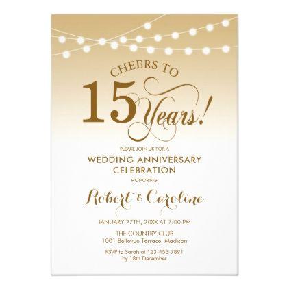 15th Wedding Anniversary Gold White Invitation Zazzle Com