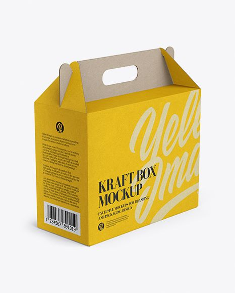 Download Kraft Box Mockup Half Side View High Angle Shot In Box Mockups On Yellow Images Object Mockups Box Mockup Mockup Free Psd Packaging Mockup