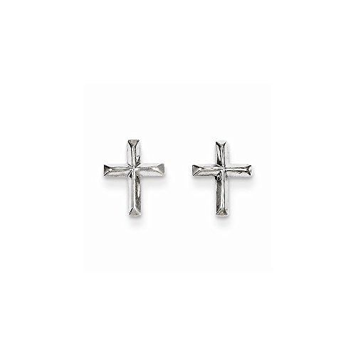 14k White Gold Madi K Cross Post Earrings, Best Quality Free Gift Box Satisfaction Guaranteed