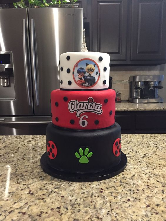 three tier cake, polka dot, white, red, black, cat paw print.