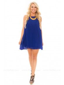 My Way Pleated Dress in Royal Blue