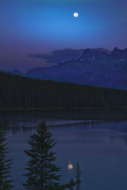 Goodnight Moon~  Moon over Mt. Rundle and Two Jack Lake Banff National Park Alberta, Canada: