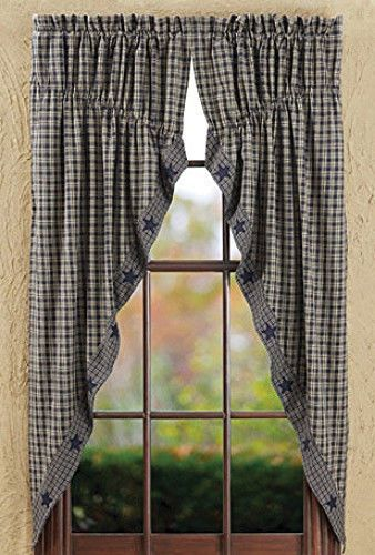 New Primitive Country NAVY BLUE & TAN CHECK STAR Prairie Curtain ...