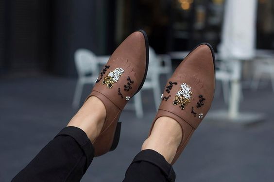 Brown Leather Shoes Womens shoes Brown Flats Flat by KatzAndBirds