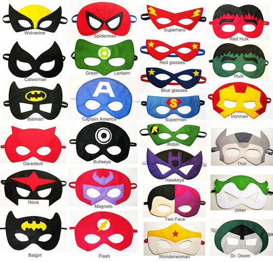 5 sentido superheroe máscaras del partido pack por FeltFamily