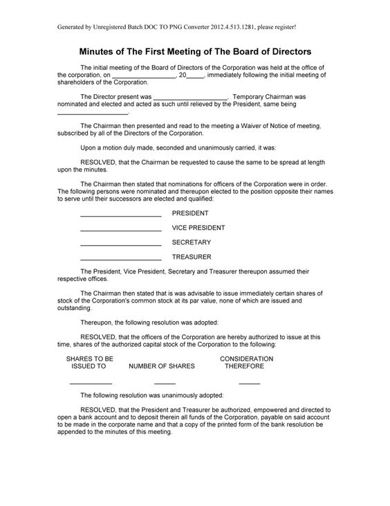 Sample Minutes of The First Meeting of The Board of Directors form – Meeting Minutes Form