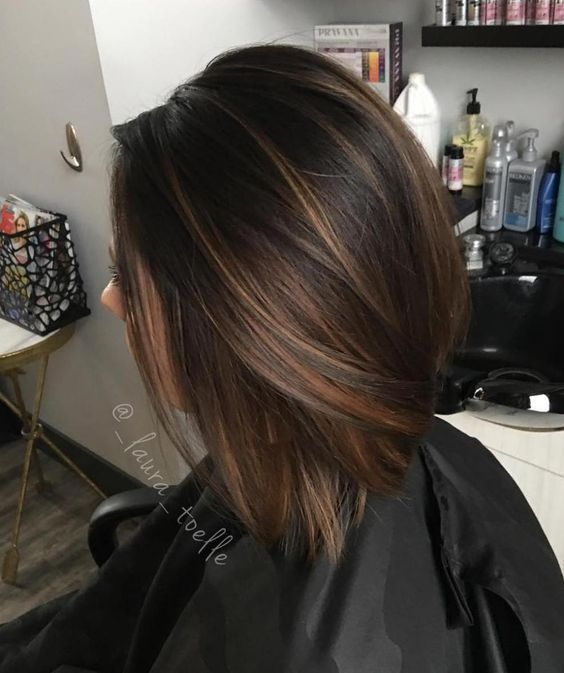 Image result for balayage dark brown hair bob straight in