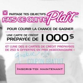 gagnez une carte de credit prépayée de 1 000$ au concours Playtex
