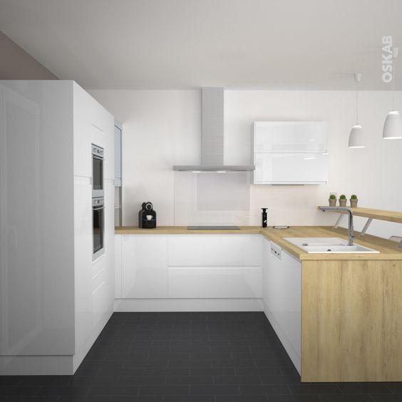 Cuisine blanche sans poign e ipoma blanc brillant design for Cuisine amenagee sans electromenager