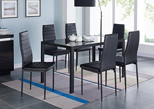 Ids 7 Pcs Glass Dining Table And Chairs Set Glass Top Metal Leg