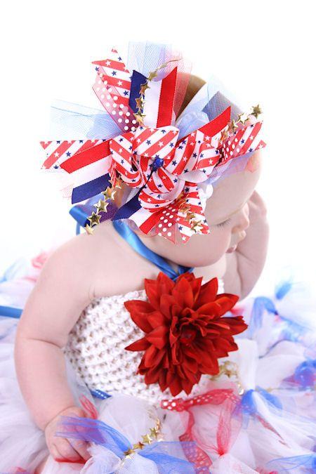 $17.00 Star Spangled Princess Red, White & Blue Hair Bow or Headband http://www.krumbcakekids.com/item_73/Star-Spangled-Princess-Red-White-Blue-Hair-Bow-or-Baby-Headband.htm