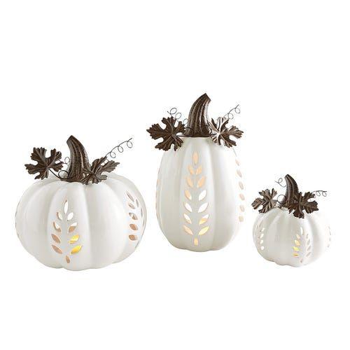 White Ceramic Pumpkin Tealight Candle Holders White Ceramic
