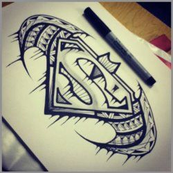 Cool Batman Superman drawing! With a touch of Polynesian flava!