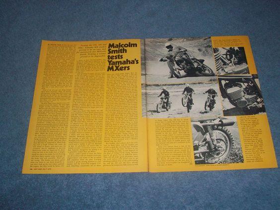 "1973 Yamaha 250 360 500 Vintage Bike Test Article ""Malcolm Smith Tests MXers"""