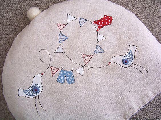 Birds and bunting tea cosy