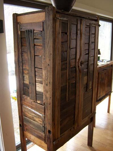 Armoire made out of reclaimed wood from wooden pallets