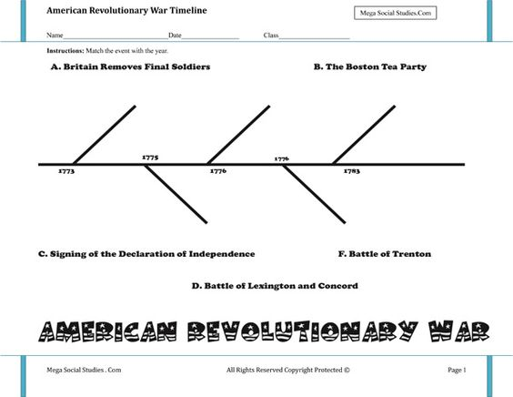 Printables American Revolution Timeline Worksheet kid timeline and us history on pinterest american revolutionary war worksheet