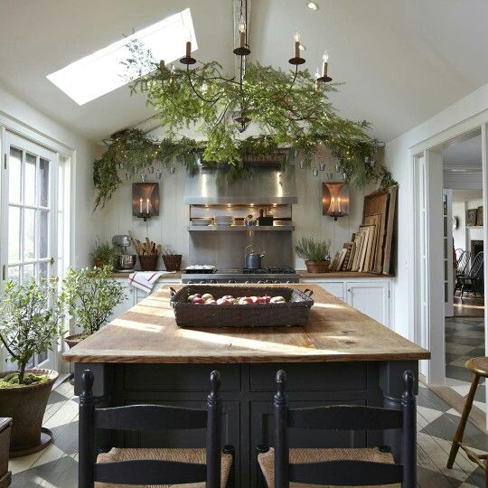 Dark Green Kitchen: Kitchens, Skylights And Plants On Pinterest