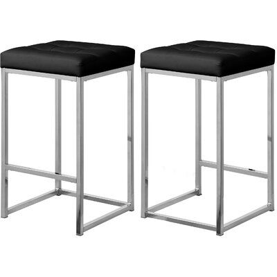 Everly Quinn Akash 26 5 Bar Stool Upholstery Black Leather Colour Chrome In 2020 Counter Stools Backless Counter Stools Leather Counter Stools