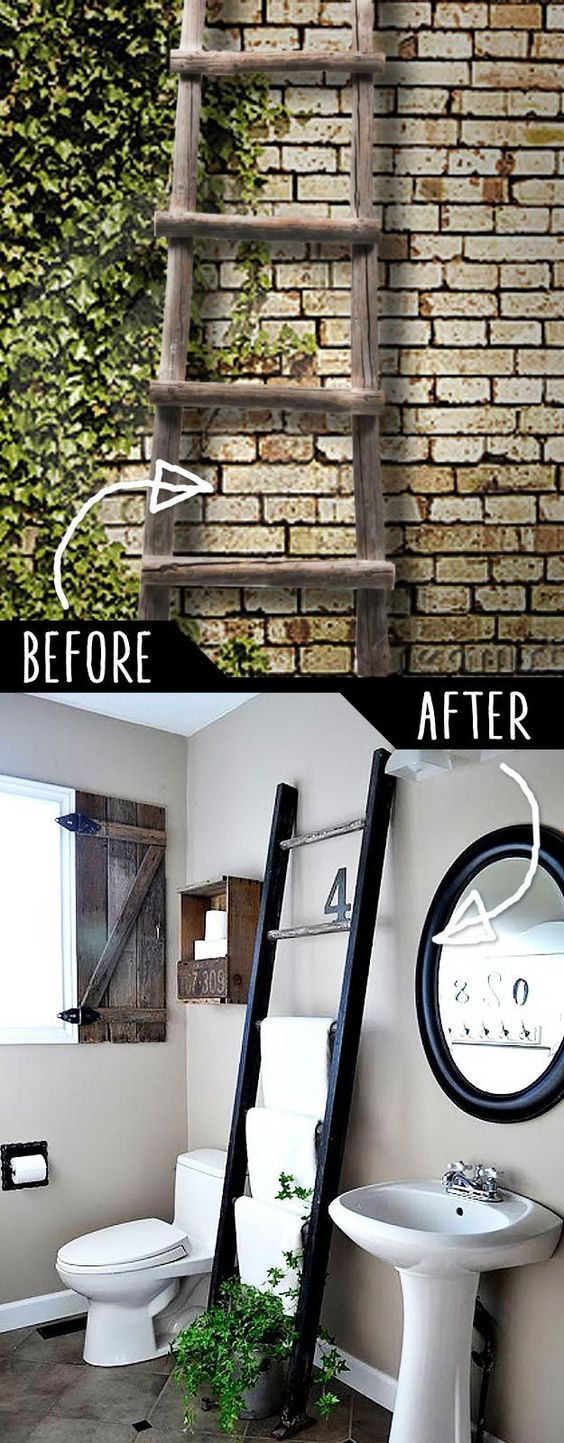 DIY Furniture Hacks | Ladder Towel Rack | Cool Ideas for Creative Do It Yourself Furniture Made From Things You Might Not Expect - http://diyjoy.com/diy-furniture-hacks: