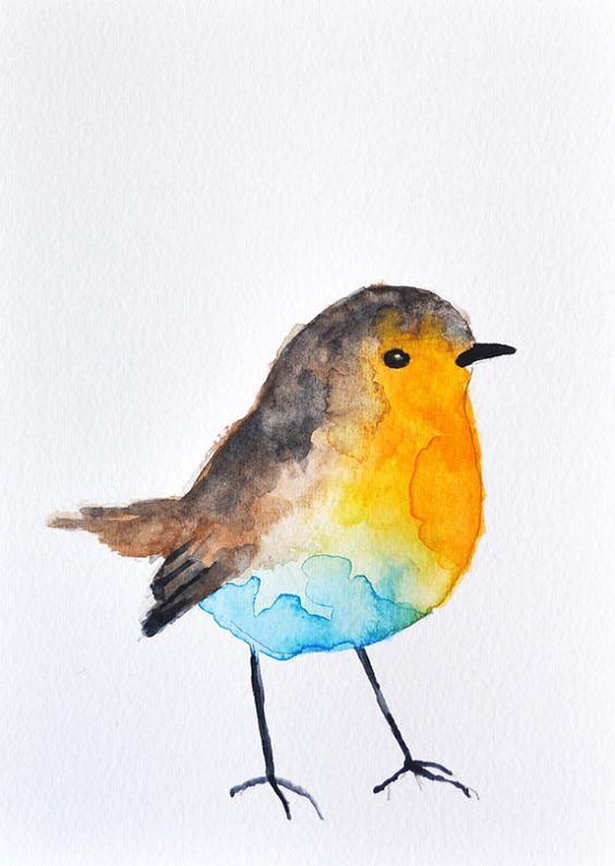ORIGINAL Watercolor painting - Colorful Robin / Bird art ...
