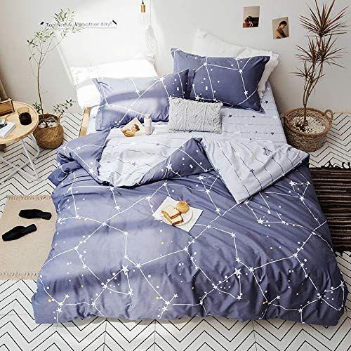 Stars Duvet Cover With 2 Pillow Cases Starry Nebula White Duvet Set Star Studded Bedding Sets With Full Bedding Sets Bed Linen Sets Twin Bed Sets