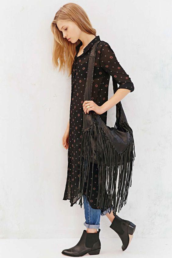 Anthro Handbag MONSERAT DE LUCCA FRENEJE BAG Black Fringe Boho Purse Large Hobo…