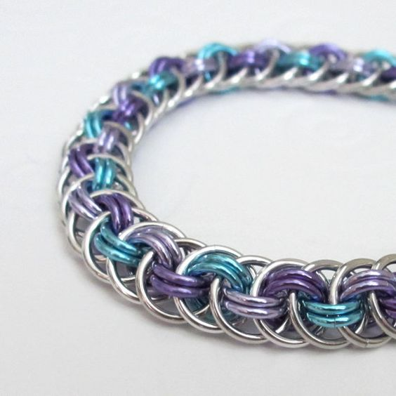 How To Basket Weave Bracelet : Chainmail bracelet viper basket weave in turquoise
