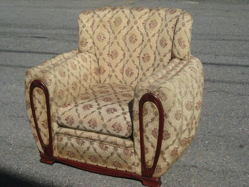 Unique Big Art Deco 1940s 50s Overstuffed Tufted Armchair with Free s H | eBay
