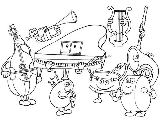 Musical Instruments Colouring Page