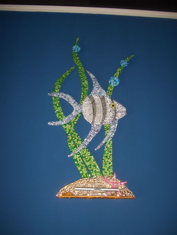 angelfish wall art sculpture done in rhinestones with a protruding base with an LED light attached