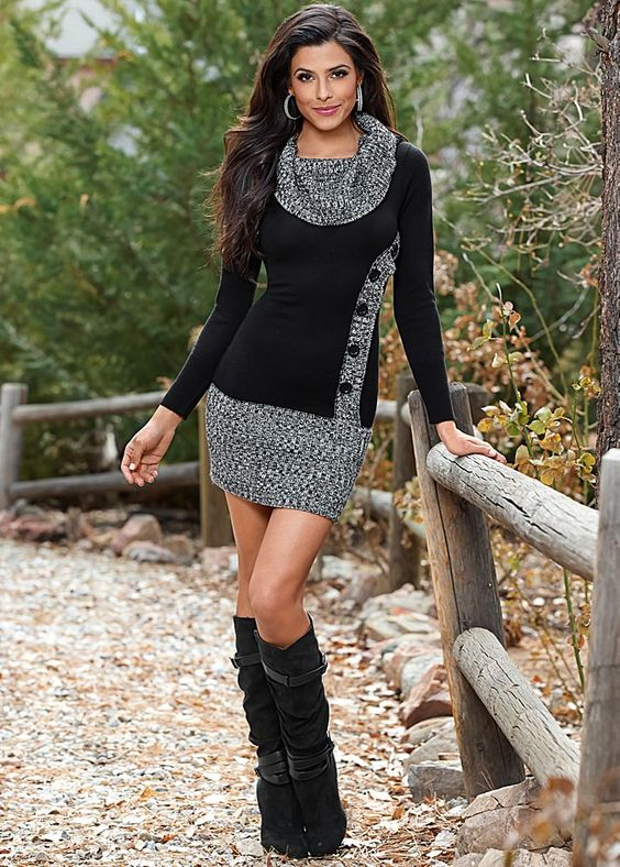 Button front sweater dress in the VENUS Line of Dresses for Women
