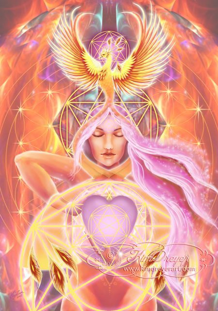 Phoenix of the Heart - Sacred Light Visions - The Art of Kim Dreyer