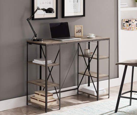 Stratford Rustic Trestle 6 Shelf Standing Desk Big Lots Desks For Small Spaces Desk In Living Room Standing Desk