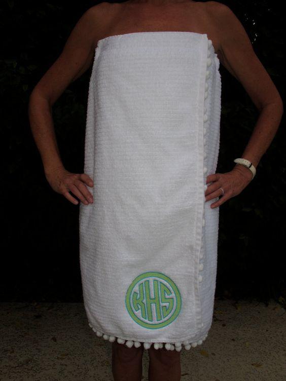 Two tone circle monogram towel wrap with pom pom fringe