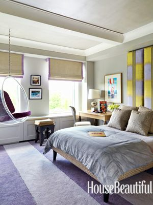 A retro teen bedroom. Designed by Heather Moore. housebeautiful.com #movie_inspirations #purple_accents #colorful_headboard