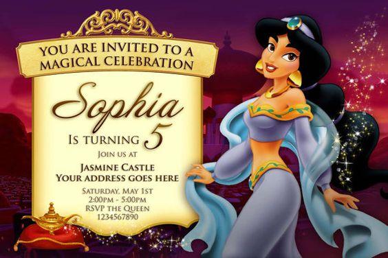 Invitación de la princesa Jasmine princesa por ConceptOneInvites