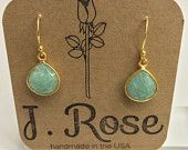 Aquamarine Drop Earring Gold by JRoseJewelrybyJess on Etsy