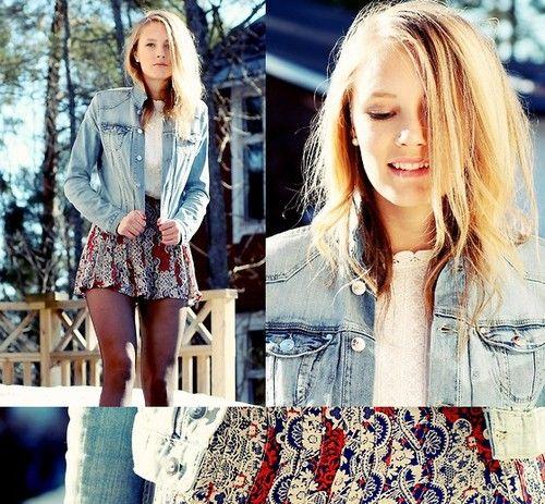 #patternskirt #jeansjacket @MissLittleBlackDress.com