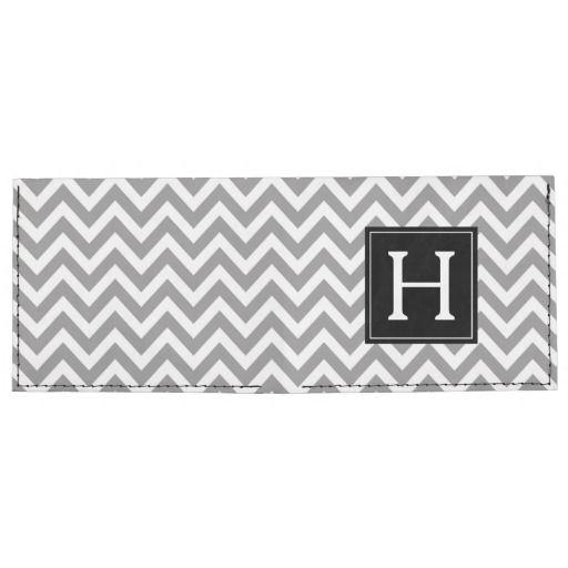 Gray and Black Zigzags Pattern Monogram Tyvek Wallet