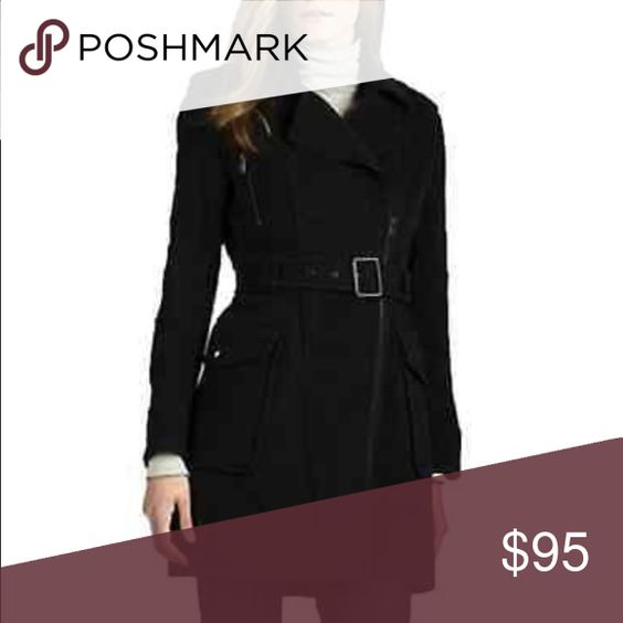 Andrew Marc New York Black Belted Wool Coat