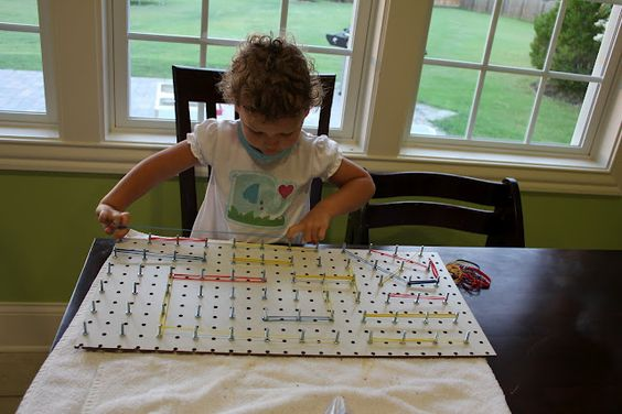 Pegboard, nuts, bolts, and rubberbands (or soft hair ties, whatever) - Developing fine motor skills, get those kiddo hands working and making the brain think