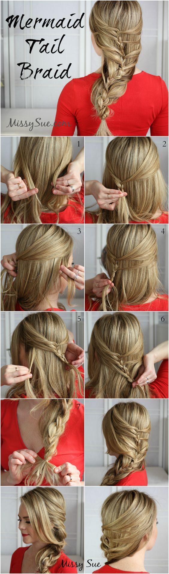 DIY Mermaid Tail Braid Hairstyle hair long hair braids diy hair hairstyles hair tutorials easy hairstyles