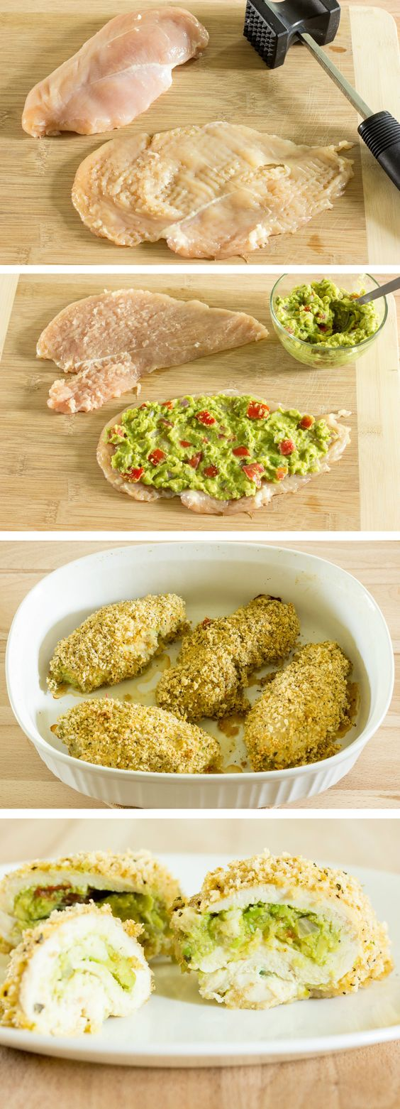Guacamole+Stuffed+Chicken+Breast.  This could be good as long as you make sure it isn't bland. Make sure the Guac is flavored/salted WELL.